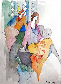 Enchantment Version 18 2000  Watercolor 24x21 Watercolor - Itzchak Tarkay
