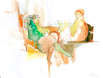 Telling a Secret Watercolor 1987 25x30 Rare Large Watercolor Watercolor - Itzchak Tarkay