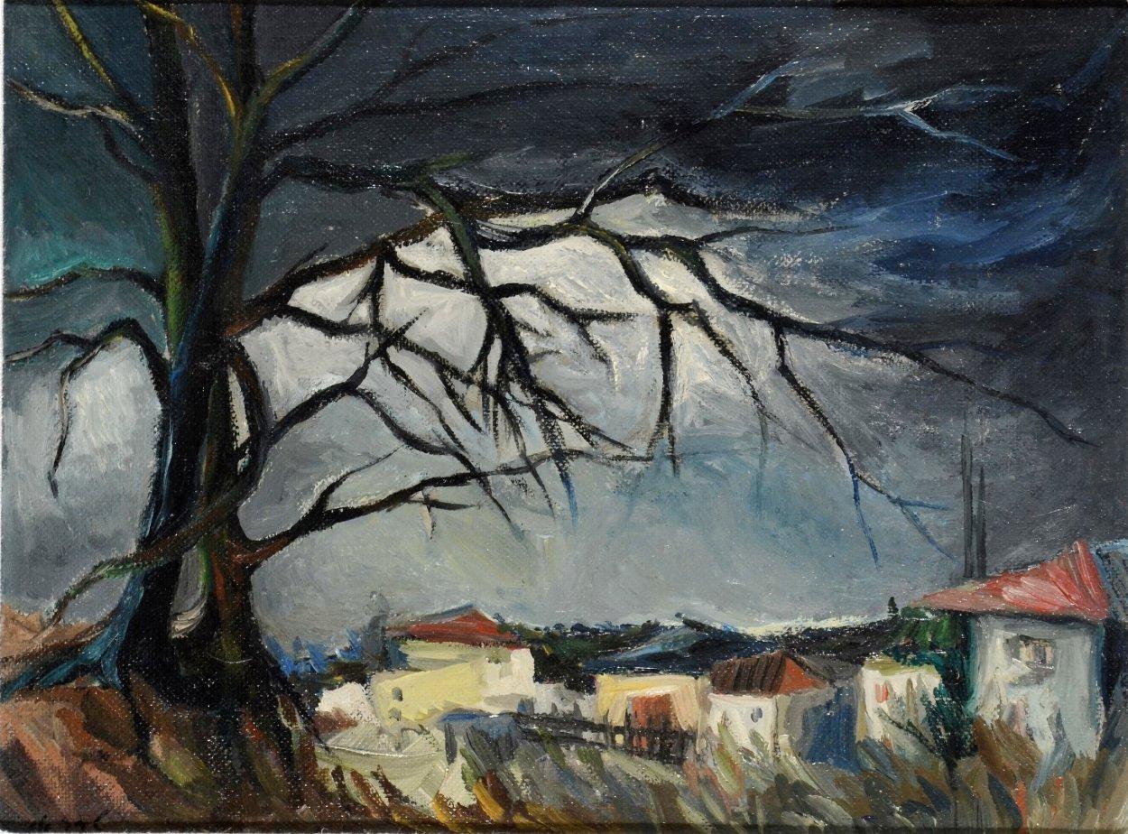 My Neighborhood 1960 9x12 Original Painting by Itzchak Tarkay