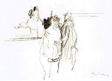 Coffee Shop 1992 8x12 Drawing - Itzchak Tarkay