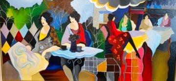 Park Afternoon Luncheon 19x34 Original Painting - Itzchak Tarkay