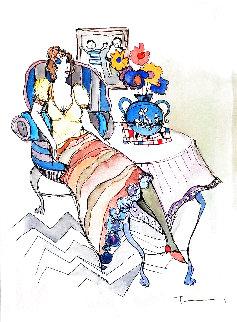 Morning Break #26 2004 25x22 Works on Paper (not prints) - Itzchak Tarkay