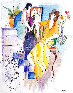Yellow And Orange Dress 2004 28x24 Works on Paper (not prints) - Itzchak Tarkay