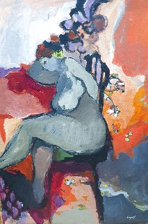 Lucy, Double Sided Painting 1980 27x20 (Early Work) Original Painting - Itzchak Tarkay