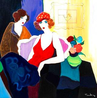 Two Women on a Sofa 47x46 Huge Original Painting - Itzchak Tarkay
