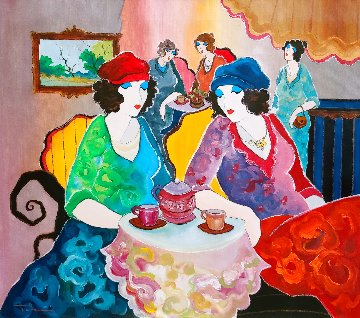 Summer Cafe 30x34 Original Painting - Itzchak Tarkay