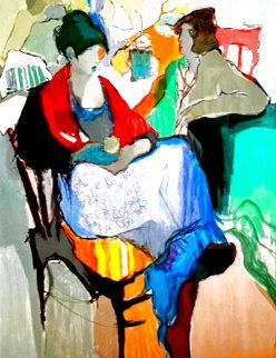 Woman Sitting 1980 Huge Limited Edition Print - Itzchak Tarkay