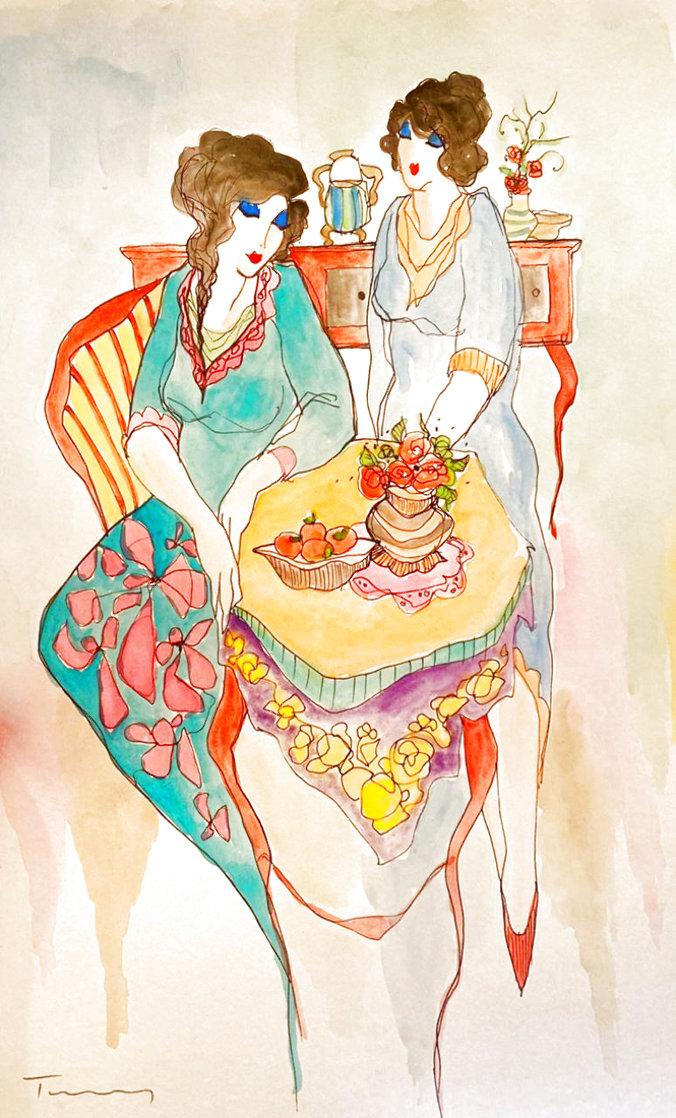Untitled Watercolor 18x12 Watercolor by Itzchak Tarkay