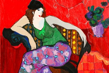 Relaxing in Red AP 2006 Limited Edition Print - Itzchak Tarkay