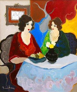 Afternoon Chat 32x27 Original Painting - Itzchak Tarkay