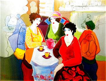 Tea Time 30x40 Huge Original Painting - Itzchak Tarkay