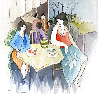 Multiple Gatherings Watercolor 2006 28x28 Watercolor - Itzchak Tarkay