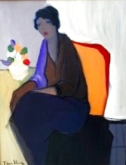 Seated Woman With Vase of Flowers Original 1990 20x16 Original Painting - Itzchak Tarkay