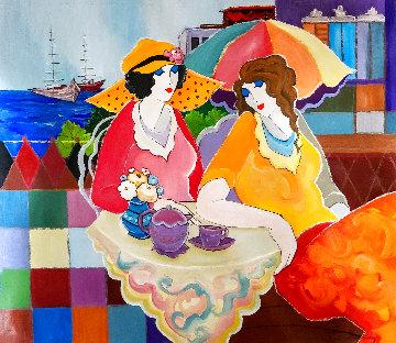 Beach Cafe 2010 32x36 Original Painting - Itzchak Tarkay