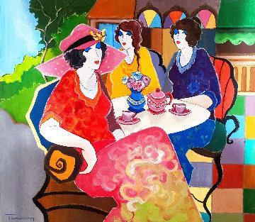 Afternoon in the Garden 2010 32x36 Original Painting - Itzchak Tarkay