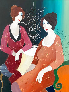A Serene Moment 38x33 Original Painting - Itzchak Tarkay