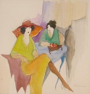 Le Chapeau Watercolor 26x26 Watercolor by Itzchak Tarkay