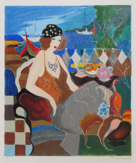 Lady By The Seaside AP Limited Edition Print by Itzchak Tarkay