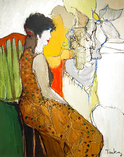 Untitled Painting (Woman Facing Right) 1995 40x32 Super Huge Original Painting - Itzchak Tarkay
