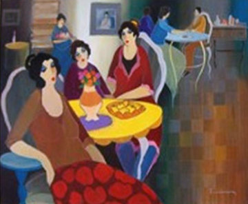 Afternoon At the Cafe 2005 41x49 Original Painting by Itzchak Tarkay