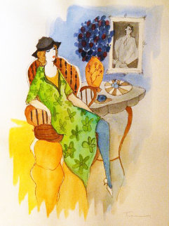 Untitled Watercolor 1990 32x38 Watercolor by Itzchak Tarkay