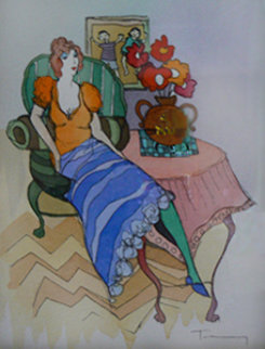 Morning Break Watercolor 2005 Watercolor by Itzchak Tarkay