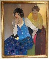 Women in Blue 44x36 Super Huge Original Painting by Itzchak Tarkay - 1