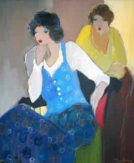Women in Blue 44x36 Huge Original Painting - Itzchak Tarkay