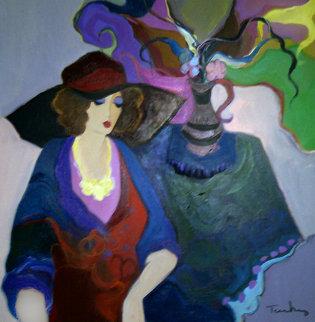 Thinking of the Past 1993 43x43 Original Painting - Itzchak Tarkay