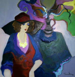 Thinking of the Past 1993 43x43 Super Huge Original Painting - Itzchak Tarkay