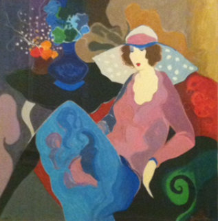 Loveliness (Also Known As Chapeau Rose) 1997 47x47 Limited Edition Print by Itzchak Tarkay
