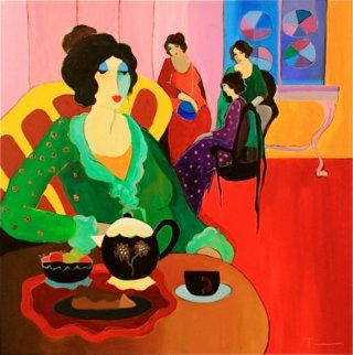 Darjeeling Tea With Eclair 48x48 Huge Original Painting - Itzchak Tarkay