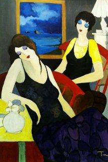 Sitting on a Checkerboard Chair 40x32 Huge Original Painting - Itzchak Tarkay