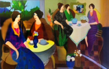 Lunch With Erin 2005 32x45 Huge Limited Edition Print - Itzchak Tarkay