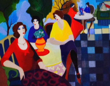 Relaxing At the Cafe 2005 Limited Edition Print - Itzchak Tarkay