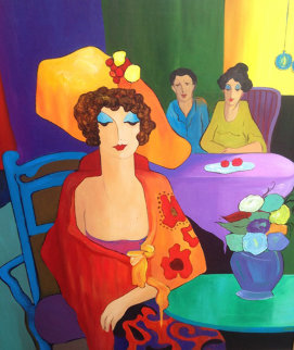 Two Women And a Man 49x44 Original Painting by Itzchak Tarkay