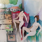Resting Nudes Watercolor 2006 18x18 Watercolor - Itzchak Tarkay