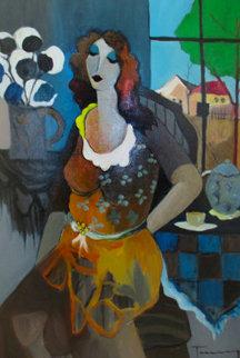 Taking a Break 2003 47x36 Original Painting by Itzchak Tarkay