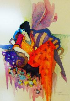 Untitled Watercolor 28x25 Watercolor by Itzchak Tarkay