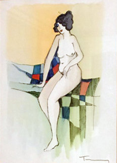 Sitting Nude Watercolor 2005 Watercolor - Itzchak Tarkay