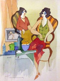 Decadent Lifestyle Watercolor 2005 Original Painting by Itzchak Tarkay