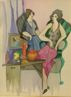 Decadent Lifestyle Watercolor 2005 Watercolor - Itzchak Tarkay