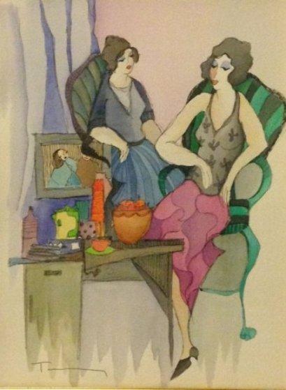 Decadent Lifestyle Watercolor 2005 Watercolor by Itzchak Tarkay