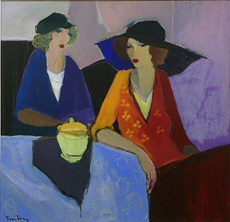 Table For Two 38x38 Original Painting by Itzchak Tarkay