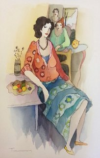 At the Salon Watercolor 22x14 Watercolor by Itzchak Tarkay