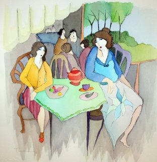 At the Cafe Watercolor 18x18 Watercolor by Itzchak Tarkay