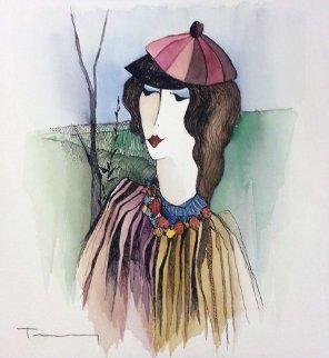 Winter Stroll Watercolor 12x12 Watercolor - Itzchak Tarkay