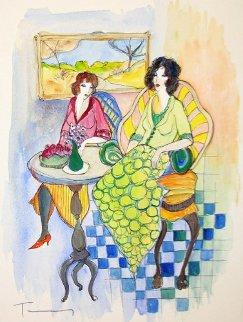 Morning Chat Watercolor 15x11 Watercolor by Itzchak Tarkay