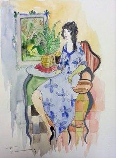 Woman in Blue Dress Watercolor 15x11 Watercolor by Itzchak Tarkay