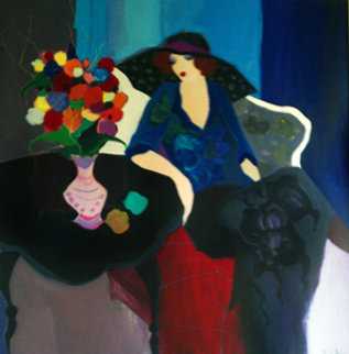 Seated Woman 1995 64x64 Original Painting by Itzchak Tarkay